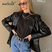 SUCHCUTE PU Women Leather Jacket Autumn Coat 2020 Streetwear