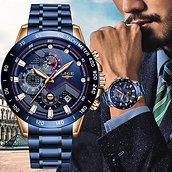 LIGE Men Watches Top Brand Luxury Stainless Steel Blue Waterproof