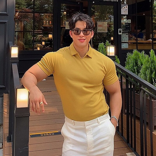 Summer Casual Fashion Polo T Shirt Men Gyms Fitness Short