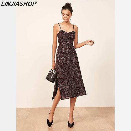Elegant Vintage Split Dress Chiffon With Straps Slash