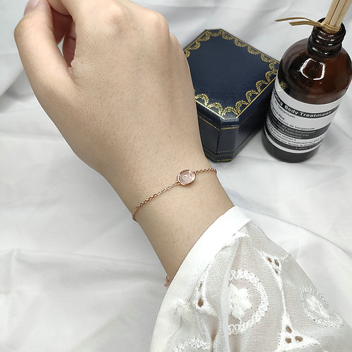 LAMOON Rose Quartz Gemstone Bracelets for Women Sterling