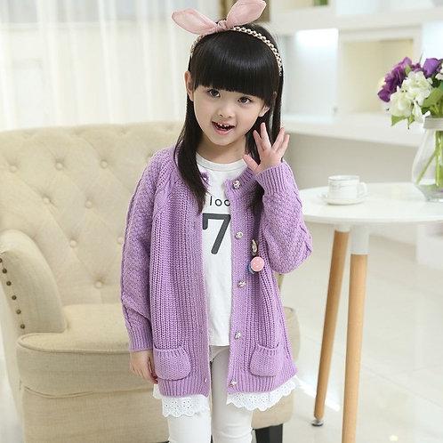 Baby Girls Knitted Cardigan 2-11 Years Old Girls Children's Sweater