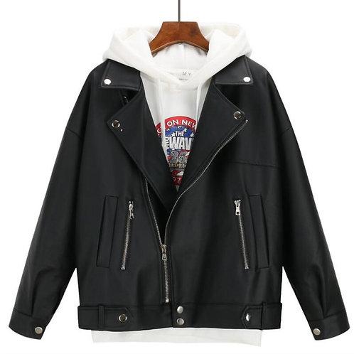 2019 New Arrival Women Autumn Winter Leather Jacket Oversized