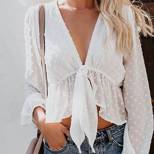 Blouse Women Sexy Transparent White Shirt Pullover