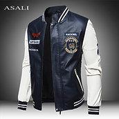 2020 Leather Jacket Men Bomber Baseball Jacket Biker Pu Coat