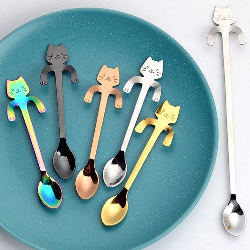 11.5cm Cute Cat Coffee Spoon Stainless Creative Cat Spoon Teaspoon