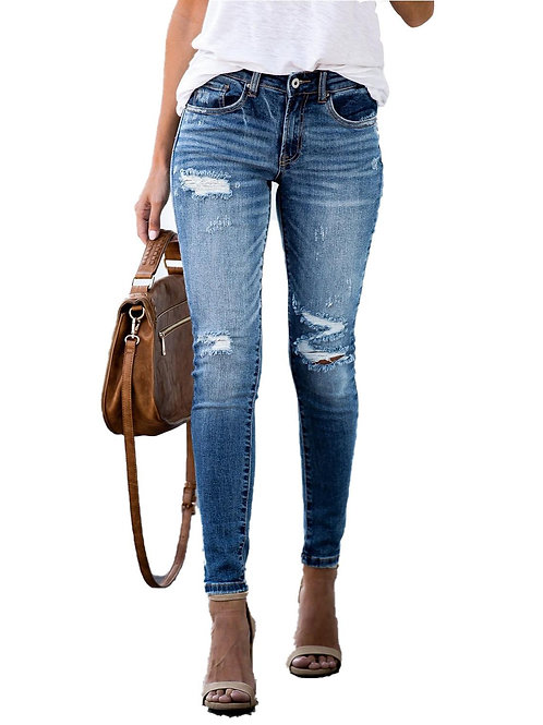 2020 New Mid Waist Skinny Spring Ripped Jeans Woman Vintage