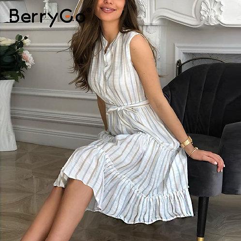 BerryGo Casaul Striped Summer Office Dress Sexy Sleeveless