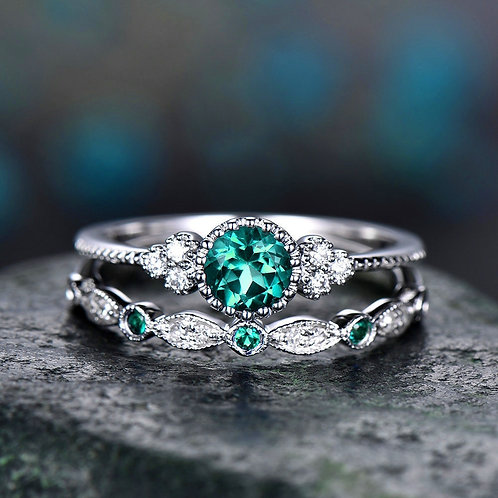 2Pcs/Set Rings 2020 New Luxury Green Blue Stone Crystal Rings