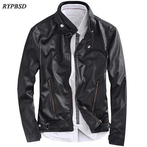 Black Leather Jacket Men Motorcycle Stand Collar Fashion Korean Classic