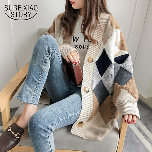 2020 Autumn Winter Women Sweater Cardigan Oversize v Neck Knit Cardigan