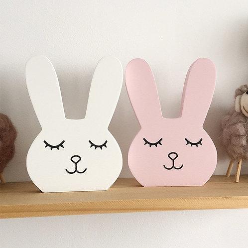 Nordic Nursery Decor Wooden Bunny Figurine Kids Room Decor