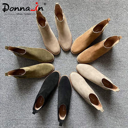 Donna-In Genuine Suede Ankle Boots for Women Chelsea Low Heeled