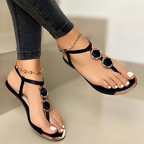 Womens Leather Sandals Bohemia T-Tied Low Heels Clip Toe Ladies