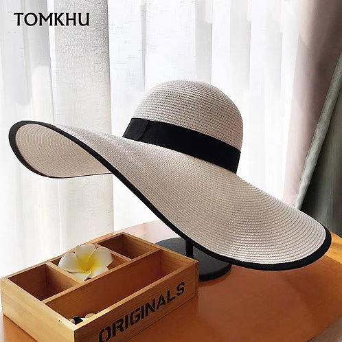 Elegant Style Summer Large Brim Straw Hat Floppy Wide Brim Black White