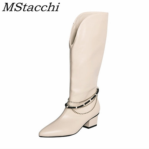 Mstacchi Black White Pearl Chain Vintage Sexy Pointed Women Boots