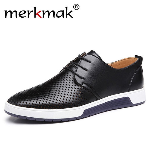 Merkmak New 2019 Men Casual Shoes Leather Summer Breathable