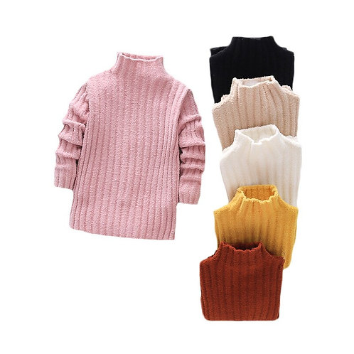 Pullover Knitted Sweaters Solid Baby Girl Winter Clothes Thick