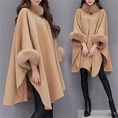 New Winter Womens Cloak Big Fur Collar Plus Size Wool Coat Long Winter