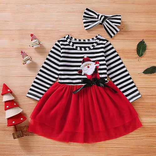 Toddler Baby Girls Christmas Santa Striped Print Tulle Dress+Headband