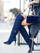 Denim Blue Pointed Toe Fashion Boots Woman Blue Suede Knee