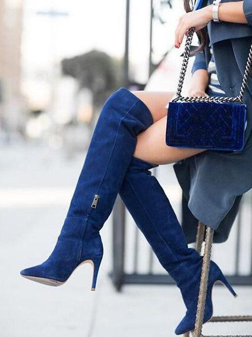 Bottes Mode Bout Pointu Bleu Denim Femme Genou En Daim Bleu