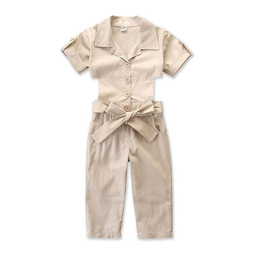 Hot Sell 2019 Children Girls Summer Soild Tooling Jumpsuit