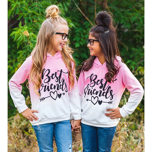 2-11y Toddler Kids Baby Girls Sweatshirt Best Friends Ombre Hoodie