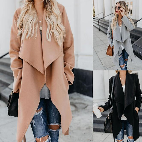 European and American Women's Autumn and Winter Solid Color