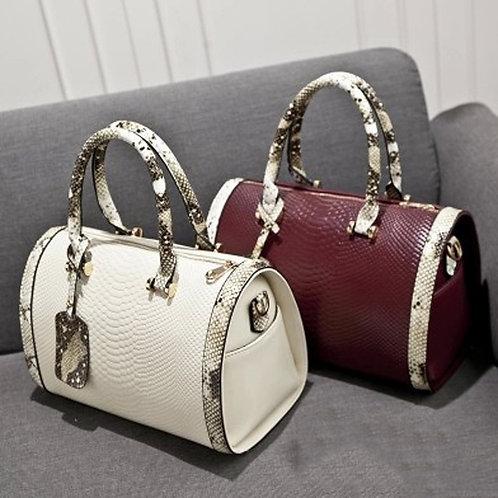 Super Quality Snakeskin Leather Women Handbag Shoulder Boston