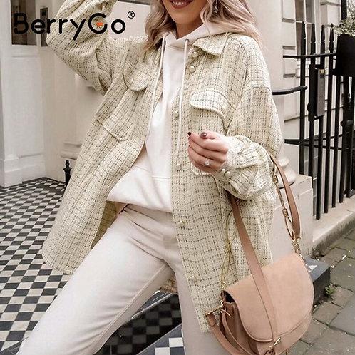 BerryGo Plaid Pearl Button Jacket Autumn Winter 2020