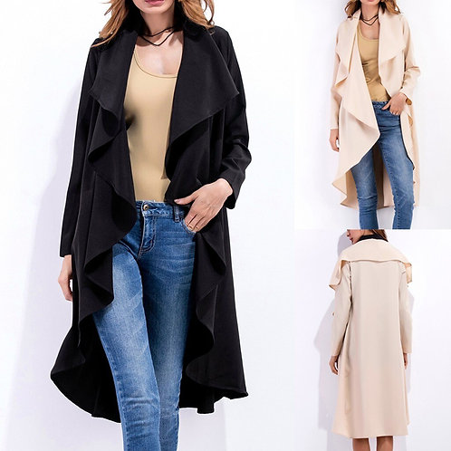 Long Coat for Women With Fur Pockets Women Work Solid Vintage Winter