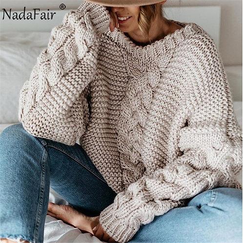 Nadafair Knitted Oversized Sweater Women Autumn O Neck Knitwear