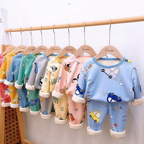 2-8Kids Pajamas Sets Baby Boys Girls Velvet Warm Long Sleeved