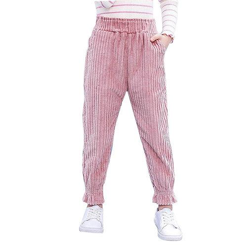 Girl Pants Fashion Striped Velvet Pants for Girls Elastic Waist Trousers
