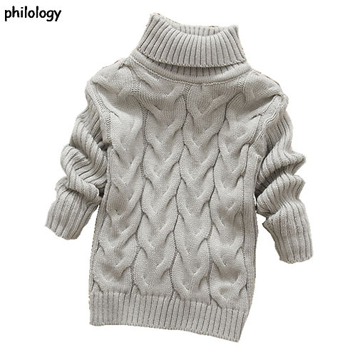 PHILOLOGY 2t-8t Pure Color Winter Boy Girl Kid Thick Knitted