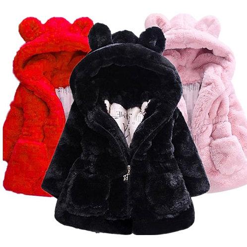 Baby Girls Jacket Kids Boys Fashion Coats Artificial Fur Warm Hooded