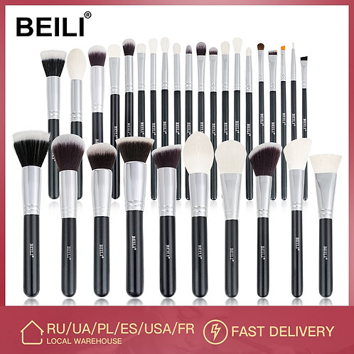 BEILI Black Makeup Brushes Set Professional Natural Goat Hair