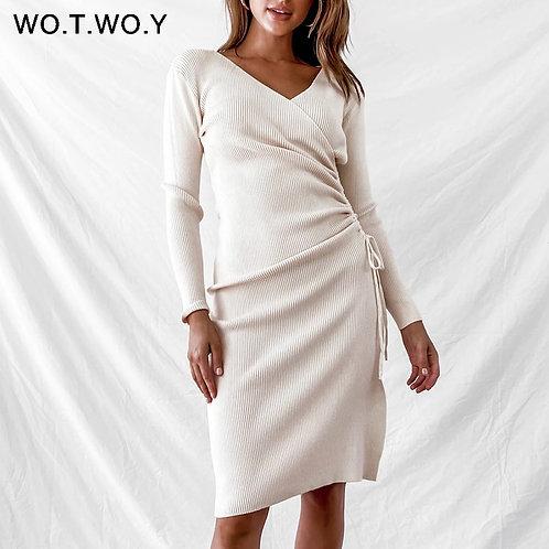 WOTWOY Elegant V-Neck Knitted Sweater Dress Women Split Draw
