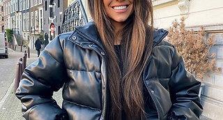 CP Winter Thick Warm Short Parkas Women Fashion Black PU Leather Coats