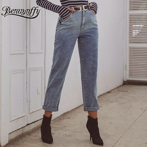 Benuynffy Full Length High Waist Jeans for Women New Fashion
