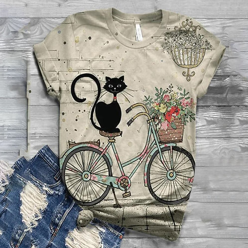 Girl Bicycle Cat Flower T-Shirt Lady Summer Cotton Casual T Shirt