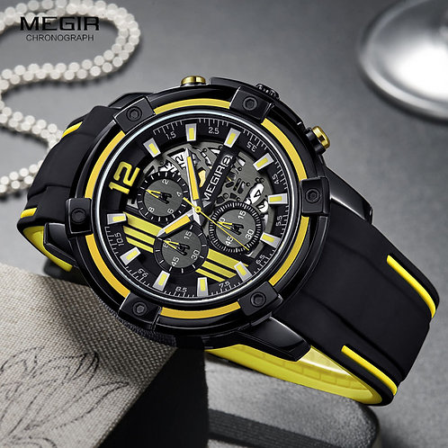 Megir Men's Black Silicone Strap Quartz Watches Chronograph Sports