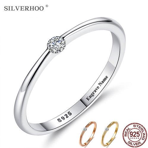 SILVERHOO 925 Sterling Silver Rings for Women Cute Zircon