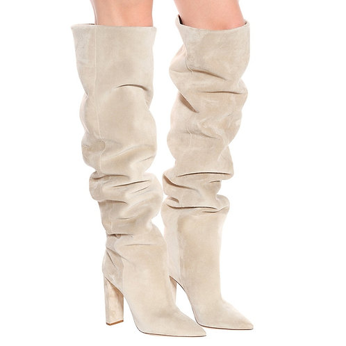 Women Faux Suede Over the Knee High Slouchy Boots Pointy Toe