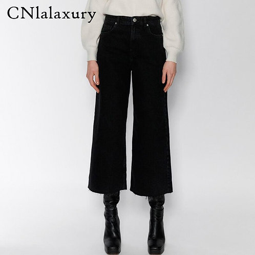 Woman Jeans High Waist Clothes Wide Leg Denim Pants Blue Streetwea
