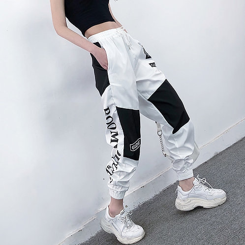 High Waist Letter Spliced Cargo Pants Women Loose Harajuku
