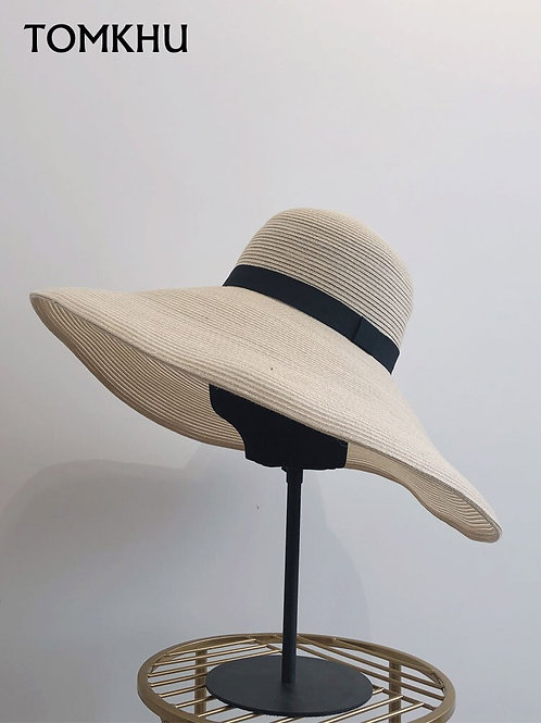 New Simple Foldable Big Wide Brim Floppy Girls Straw Hat Sun