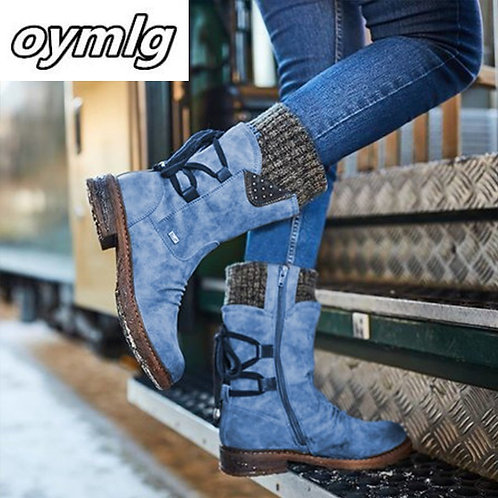 2020 Women Winter Mid-Calf Boot Flock Winter Shoes Ladies Fashion