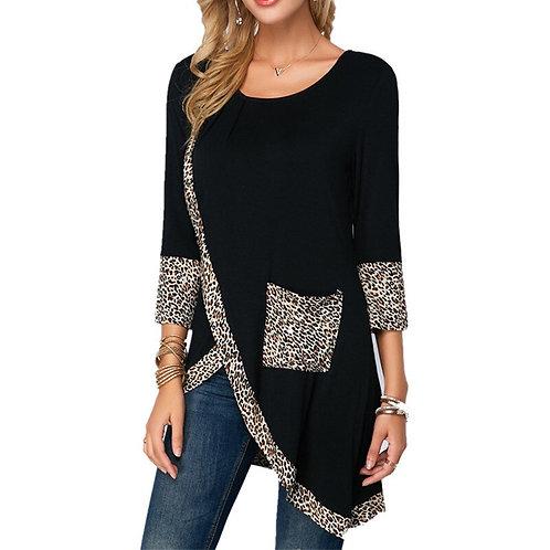 Leopard Print Pocket Long Tshirts Women Black T Shirt 2020 Spring New Long